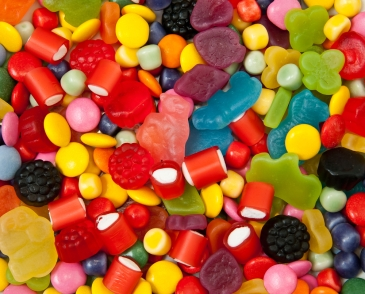 Different sorts of candies for background